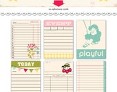 """Digital whimsical 3"""" by 4"""" journaling cards / girly / downloadable / printable / ephemera / tickets / pink, yellow, magenta, aqua, olive"""