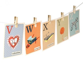 "Digital retro-style ABC flashcards / alphabet flash cards/ downloadable / printable / 3"" by 4.2""/ vintage style  / retro colors / PDF"