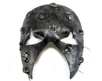 Ashes Hand-Painted w/Skulls Silvery Men's Masquerade Mask - A-2226-E
