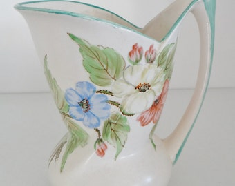 Vintage Pitcher Vase Art Deco 1930s Bewley Pottery Hand Painted Jug with Handle