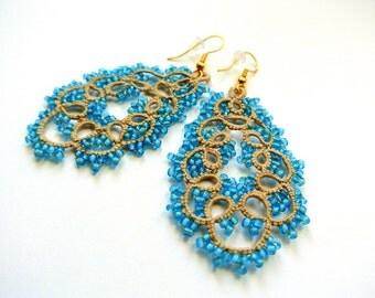 chandelier teardrop beaded earrings | tatted lace earrings | made in Italy  lace jewelry | frivolitè