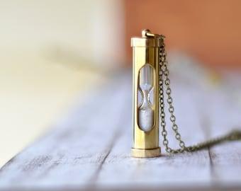 Vintage Style Sand Timer Hour Glass Pendant - Nautical Shiny Brass Sand Timer Necklace