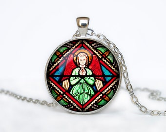Vintage church stained glass necklace  Abstract pendant jewelry