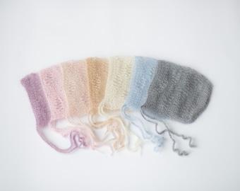 Baby bonnet hat 31 color / newborn mohair bonnet / newborn photo prop lace hat / photography props newborn baby / neworn knitted baby hat