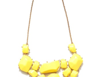 Yellow bubble statement necklace, yellow statement necklace
