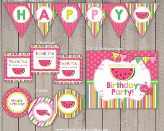 Watermelon Birthday Package / Watermelon Birthday Pack / Watermelon Decoration / Watermelon Printable / Watermelon Favor Tags / INSTANT