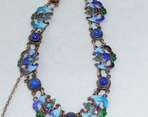 Vintage Ethnic Jewelry: Chinese Silver Vermeil Enamel and Lapis Vintage Bracelet Bat Motif