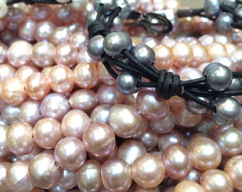 Large Hole Pink Pearls for Leather
