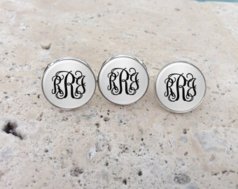 Personalized Silver Cufflinks, Personalized Tie Tack, Monogram Cufflinks, Monogram Tie Tack, Groomsmen Gifts, Tie Pin, Bridal Party Gifts