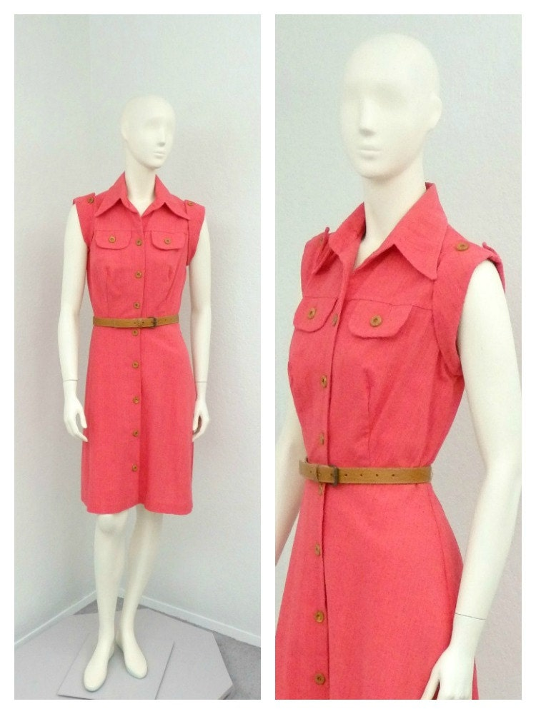Vintage 70s Salmon Pink Short Casual Dress Coral Pink A Line