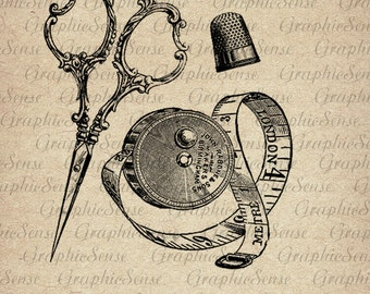 Antique Sewing Scissors  Thimble Sartorial Vintage Printable Graphics Digital Collage Sheet Image Download Iron on Transfer Paper Ephemera
