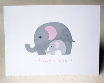 Mama and Baby Elephant Thank You Cards (pack of 10)