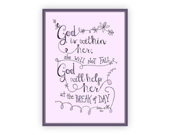 Psalm 465 Religious Quote God Is Within Her Girls Bible Verse Art