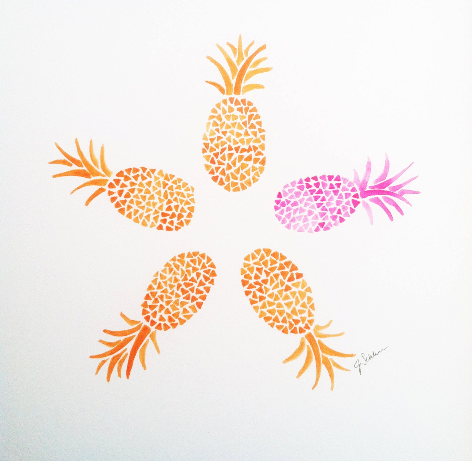 Original hand painted pineapple watercolor painting pineapple zoom amipublicfo Choice Image