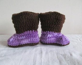 Adorable Purple Camo Hand Crocheted Baby Cowgirl Boots Size 0-3 Months - NEW DESIGN