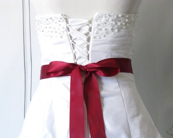 Wine Double Sided Satin Wedding Sash, Bridal Sash, Bridesmaids / Flower Girl Sash, Plain Dress Sash, Bridal Belt, Red Crimson Burgundy Sash