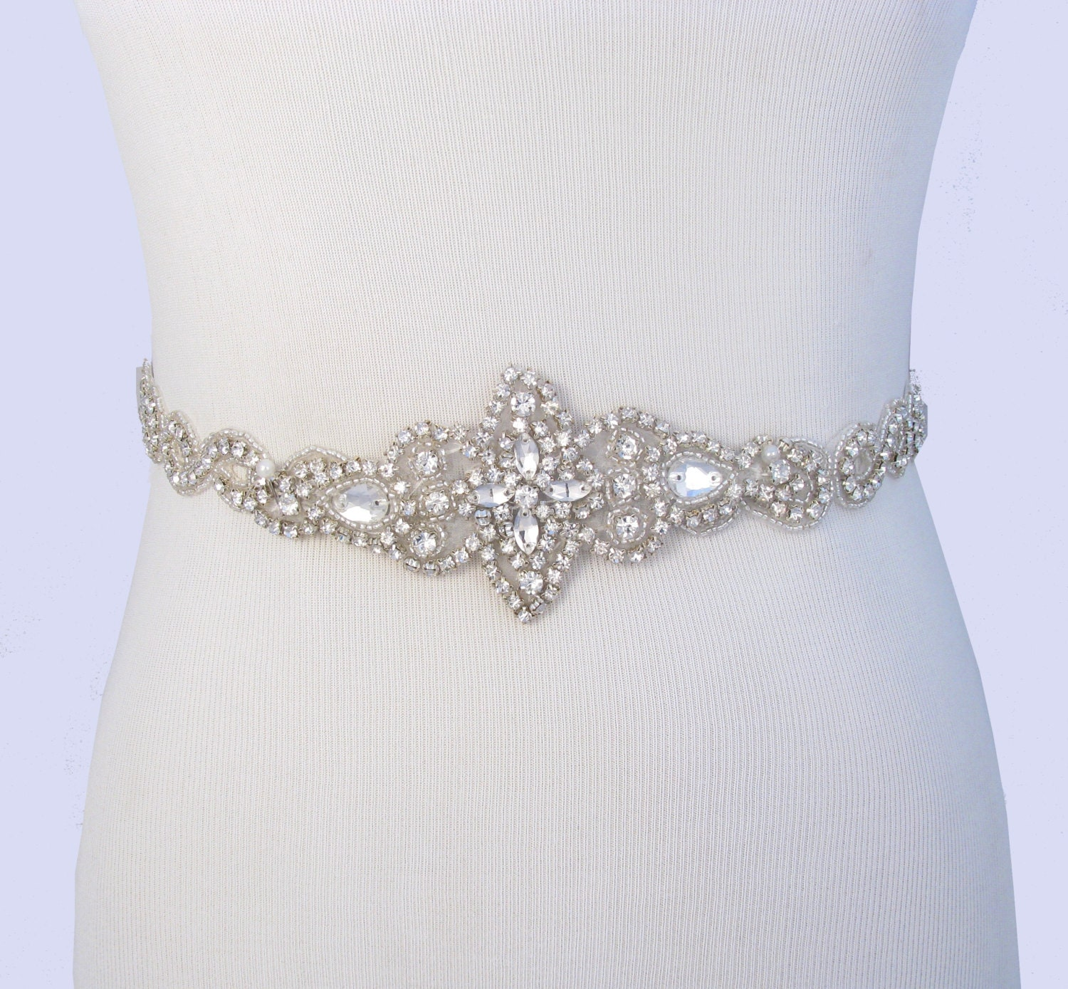 Bridal belt crystal rhinestone wedding dress sash jeweled for Wedding dress sashes with crystals