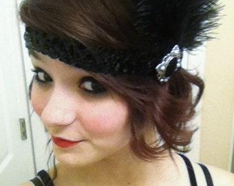 Handmade Black Sequin 1920's Great Gatsby Inspired Feather Flapper Headband