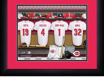 Cincinnati Reds  Locker Room Personalized Print