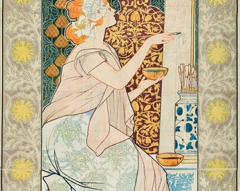 """Alexandre de Riquer Art Nouveau Poster : """"Mosaicos Escofet-Tejera y CA"""" (1900) - Giclee Fine Art Print"""
