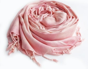 "Pink scarf, warm pink scarf, pink winter scarf, Valentine's Day gift, February, blush pink, light pink, hand dyed, 24""x72"", vegan"