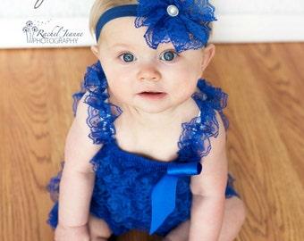 Aqua Blue Baby Girl Headband-Lace-Pearl-Preemie-Newborn-Infant-Toddler-Child-Baptism-Wedding-Flower Girl-Chic-Pretty-Vintage-Photography
