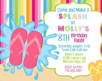 Flip Flop Pool Party Invitation