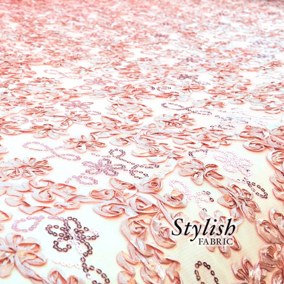 Embroidered floral sequin fabric on mesh elegant