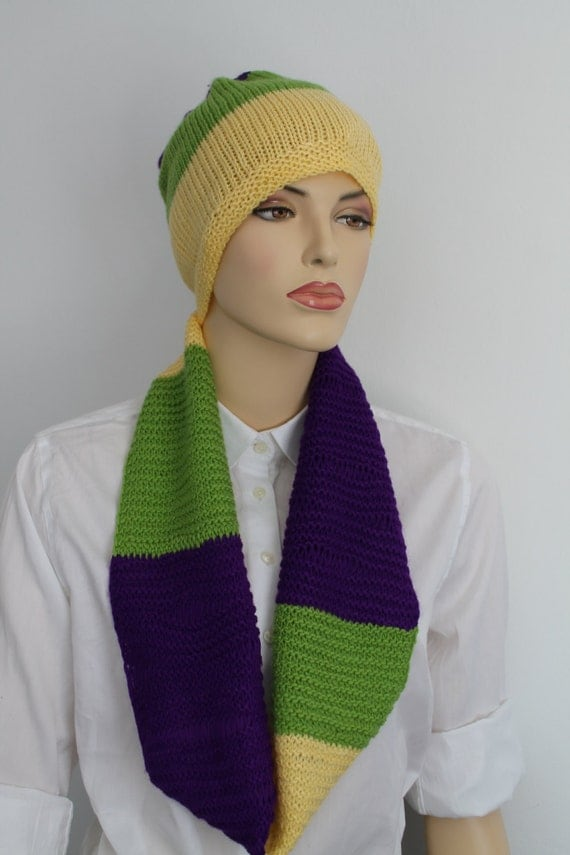 Knitting Pattern Hat Scarf Combo : Purple Yellow Green Knitted COMBO Set of Hat and Scarf for