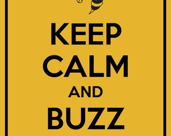 Keep Calm and Buzz On  GT Yellow Ja ckets Art Print  Home Decor  8x10    Yellow Jacket Mascot