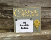 Race bib running medal holder and medal display running gift Celebrate Every Mile