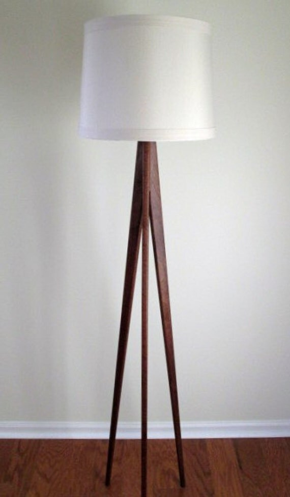 Floor Lamp Tripod Black Walnut By Waldenwooddesigns On Etsy