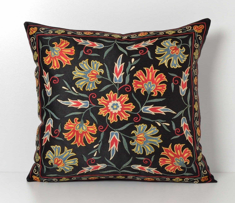 Suzani Throw Pillow Black Silk Decorative Vintage Floral