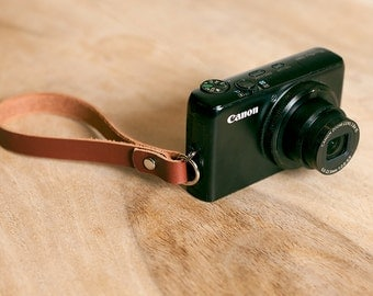 Leather Compact Camera Wrist Strap + FREE Personalisation