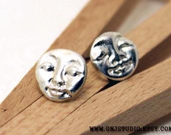 Sterling Silver Faces Earrings - Silver Post Earrings