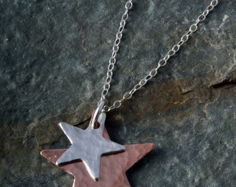 Star necklace sterling Silver and copper Hammered Star duo Necklace Pendant Charm Handmade choose chain length
