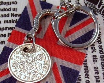 Lucky 1960 6d Sixpence English Coin Keyring Key Chain Fob Queen Elizabeth II