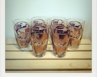 Rare Vintage Horse Express Glasses by Libbey