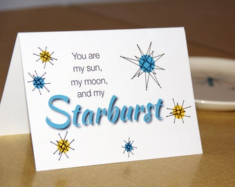 Romantic Card - Starburst Plate Pattern - Franciscan Plate - Starburst Card