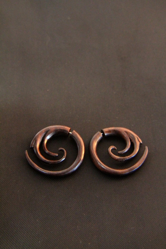 Ethnic Spiral Fake Gauge Earring Handmade Natural Brown Fake