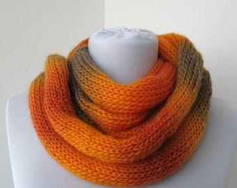 Orange Knit Scarf - Infinity Scarf - Loop Scarf - Circle Scarf   875