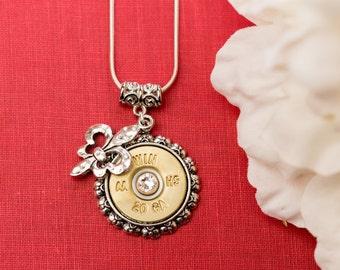 Bullet Casing Jewelry - Dainty Fleur de Lis Shotgun Bullet Casing Necklace (20 Gauge)