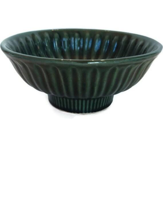Ribbed Hull dish vintage green ceramic planter