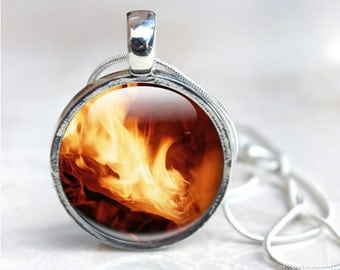 Fire Necklace, Fire Flame Pendant Necklace - Wearable Art Glass Pendant Necklace, Picture Photo, hot, orange, black, Fantasy Art