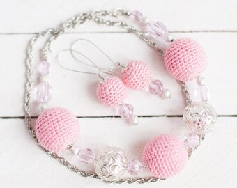 Pink crochet necklace and earrings Pink  jewelry set Ready to ship