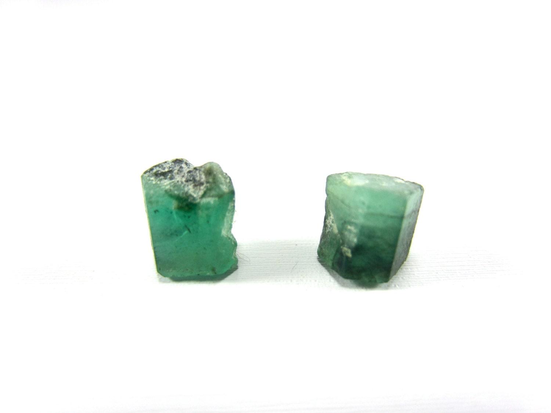 Raw emerald crystal earrings. Raw emerald gemstones on silver