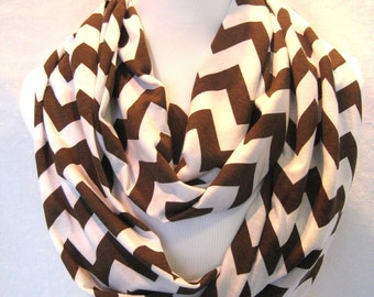 LONG Dark Brown and White Chevron Infinity Scarf - Jersey Knit - Chevron Scarf