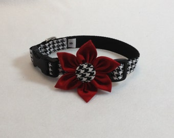 Dog Flower Collar in Houndstooth print with Red Flower