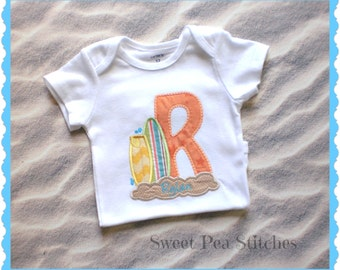 Personalized Surfboard Shirt - Applique Shirt - Embroidered Shirt - Surfing Tee - Beach Shirt - Bodysuit - Personalzied Shirt