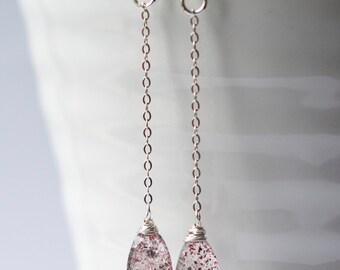 Lepidocrosite Earrings, Sterling Silver Earrings, Gemstone Earrings, Wire Wrapped Gemstone Earrings, Drop Earrings, Artisan Gemstone Earring